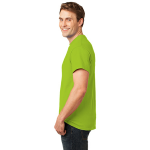 Lime Port & Company Essential T-Shirt as seen from the sleeveleft