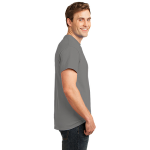 Medium Gray Port & Company Essential T-Shirt as seen from the sleeveright
