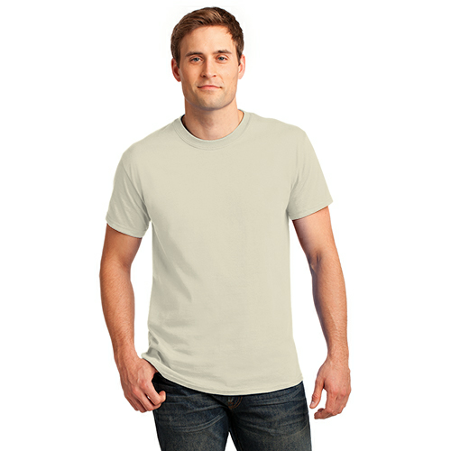 Natural Port & Company Essential T-Shirt as seen from the front