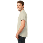 Natural Port & Company Essential T-Shirt as seen from the sleeveleft