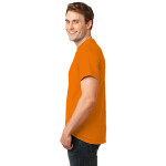 Orange Port & Company Essential T-Shirt as seen from the sleeveleft