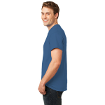 Sapphire Port & Company Essential T-Shirt as seen from the sleeveleft