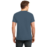 Steel Blue Port & Company Essential T-Shirt as seen from the back