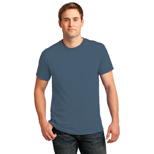 Steel Blue Port & Company Essential T-Shirt as seen from the front