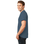 Steel Blue Port & Company Essential T-Shirt as seen from the sleeveleft