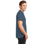 Steel Blue Port & Company Essential T-Shirt as seen from the sleeveright