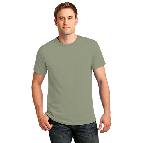 Stonewash Gree Port & Company Essential T-Shirt as seen from the front