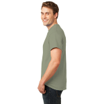 Stonewash Gree Port & Company Essential T-Shirt as seen from the sleeveleft
