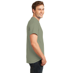 Stonewash Gree Port & Company Essential T-Shirt as seen from the sleeveright