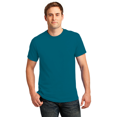 Teal Port & Company Essential T-Shirt as seen from the front