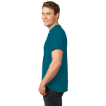 Teal Port & Company Essential T-Shirt as seen from the sleeveleft