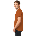 Texas Orange Port & Company Essential T-Shirt as seen from the sleeveleft