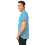 Turquoise Port & Company Essential T-Shirt as seen from the sleeveleft
