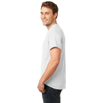 White Port & Company Essential T-Shirt as seen from the sleeveleft