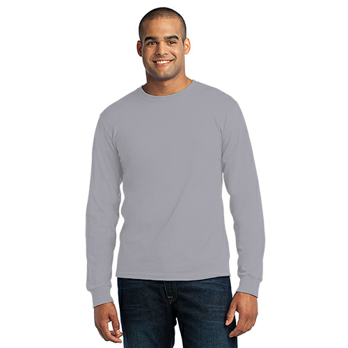 Athletic Hthr Port & Company Long Sleeve Essential T-Shirt as seen from the front