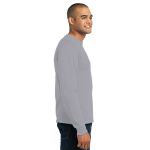 Athletic Hthr Port & Company Long Sleeve Essential T-Shirt as seen from the sleeveright