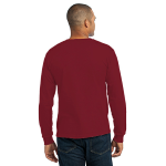 Cardinal Port & Company Long Sleeve Essential T-Shirt as seen from the back