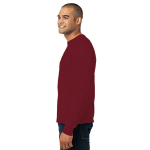 Cardinal Port & Company Long Sleeve Essential T-Shirt as seen from the sleeveleft