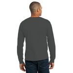 Charcoal Port & Company Long Sleeve Essential T-Shirt as seen from the back