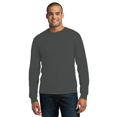Charcoal Port & Company Long Sleeve Essential T-Shirt as seen from the front