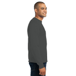 Charcoal Port & Company Long Sleeve Essential T-Shirt as seen from the sleeveright