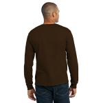 Dk Choc Brown Port & Company Long Sleeve Essential T-Shirt as seen from the back