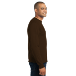 Dk Choc Brown Port & Company Long Sleeve Essential T-Shirt as seen from the sleeveright