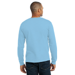 Light Blue Port & Company Long Sleeve Essential T-Shirt as seen from the back
