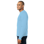 Light Blue Port & Company Long Sleeve Essential T-Shirt as seen from the sleeveleft