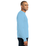 Light Blue Port & Company Long Sleeve Essential T-Shirt as seen from the sleeveright