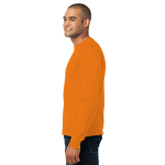 Orange Port & Company Long Sleeve Essential T-Shirt as seen from the sleeveleft