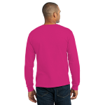 Sangria Port & Company Long Sleeve Essential T-Shirt as seen from the back