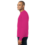 Sangria Port & Company Long Sleeve Essential T-Shirt as seen from the sleeveleft