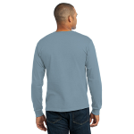 Stonewash Blue Port & Company Long Sleeve Essential T-Shirt as seen from the back