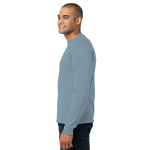 Stonewash Blue Port & Company Long Sleeve Essential T-Shirt as seen from the sleeveleft