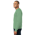 Stonewash Gree Port & Company Long Sleeve Essential T-Shirt as seen from the sleeveleft