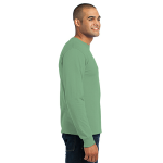 Stonewash Gree Port & Company Long Sleeve Essential T-Shirt as seen from the sleeveright