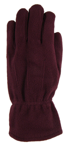 Burgundy Fleece Gloves as seen from the front