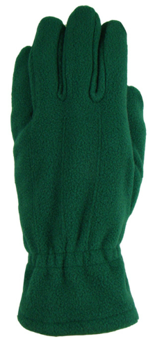 Green Fleece Gloves as seen from the front