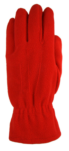Red Fleece Gloves as seen from the front