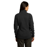 Black Red House Ladies Sweater Fleece Full-Zip Jacket as seen from the back