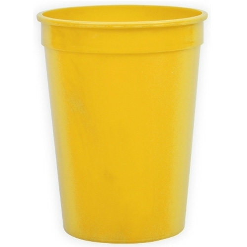 Yellow Cups-On-The-Go - 12 oz. Stadium Cup as seen from the front