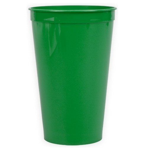 Green 22 oz. Stadium Cup as seen from the front