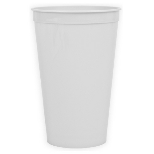 White 22 oz. Stadium Cup as seen from the front