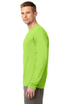 Lime Shock Sport-Tek Long Sleeve Competitor Tee as seen from the sleeveleft