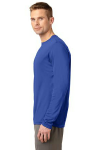 True Royal Sport-Tek Long Sleeve Competitor Tee as seen from the sleeveleft