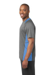 Vtghthr Car Bl Sport-Tek Heather Colorblock Contender Tee as seen from the sleeveleft