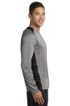 Vnt He Black Sport-Tek Long Sleeve Heather Colorblock Contender Tee as seen from the sleeveright