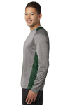 Vnt He For Grn Sport-Tek Long Sleeve Heather Colorblock Contender Tee as seen from the sleeveleft