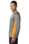 Vnt He Gold Sport-Tek Long Sleeve Heather Colorblock Contender Tee as seen from the sleeveleft